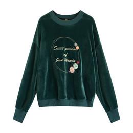 Samt besticktes fell online-Frauen Winter Mode Brief Gesticktes Gold Samt Sweatshirt Lose Langarm Pullover Jacke Mutterschaft Mantel