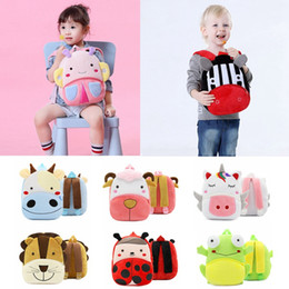 Animais de pelúcia de abelha on-line-Abelhas crianças Animal Plush Backpack Lion Cat Sheep Macaco Plush Shoulder Bag Crianças Escola saco do bebê dos desenhos animados Mochila HHA600