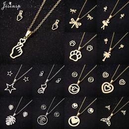 Edelstahl-schmuck-sets koreanischen online-Jisensp Edelstahl Schmuck Sets Korean Style Little Star Süßes Herz Halskette Ohrringe Modeschmuck für Frauen Mädchen