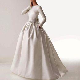 2019 zuhair murad forro desnudo 2019 NUEVA Vendimia Elegante O-cuello de manga larga Sash Bow bolsillos vestido largo árabe musulmán vestido de noche vestidos de festa