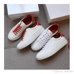 appartements pour l'hiver Promotion 2018 automne hiver haute qualité marque nouveau designer de mode Sneakers Giv confortable chaussures de sport en cuir véritable chaussures femme hommes blanc plat