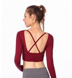 Neue Yoga Langarm T-Shirt Frauen Zurück Kreuz Sport Fitness Langarm T-Shirt Frauen Mit Brustpolster von Fabrikanten