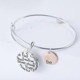 "Joyeux bijoux en Ligne-Chaud Deux-tons ""Soyez"" Heureux Charme Bracelets Charmes Bracelet Soyez Ami Brave Heureux Fort Bracelets Bijoux Vente Chaude"
