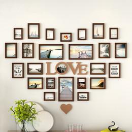 Photos de mariage décorations en Ligne-Décoration de mur de cadre photo en forme de coeur romantique 25pieces / set cadre de mariage cadre de décoration de chambre à coucher combinaison de cadres ensemble