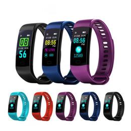 2019 schrittzähler silber armbänder Smart Armband Y5 Armbänder Fitness Tracker Farbdisplay Herzfrequenz Schlaf Schrittzähler Sport Wasserdichte Aktivitäts-Tracker für iPhone Samsung