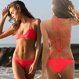 spider woman suits Promo Codes - Wild Style Back Spider-web Crochet Trikini Swimwear Female Sexy Women Monokini Swimsuit One Piece Bathing Swimming Suits