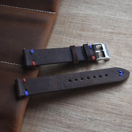 leather strap stitched Coupons - Onthelevel 18mm 20mm 22mm Watch Leather Strap Handmade Vintage Stitching Red Blue Line Genuine Leather Watch Band #D