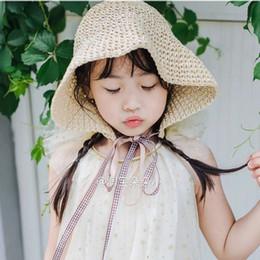 2020 chapeau de soleil garçons crochet Enfants dentelle Bracelet Crochet chapeaux de paille bébé fille à la main d'été Pliable Sun Cap extérieur Protection Vacances parent-enfant chapeau de soleil garçons crochet pas cher