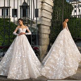 sexy bling blanco vestidos de novia de playa Rebajas Tamaño más vestidos de boda de cristal de lujo de manga larga de bola vestidos de novia vestido de novia de encaje Sheer Vestidos apliques barrer de tren