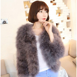 пуховая куртка Скидка Luxury Warm Ladies Coat Ostrich Hair Fur Coat Women Short Turkey Feather Jacket Winter Long Sleeve Overcoat White/Black/Blue
