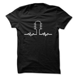 2019 faire le cou de la guitare I Love Apparel Guitar Heartbeat - T-shirt drôle - Fabriqué sur demande aux États-Unis d'Amérique 2019 faire le cou de la guitare pas cher