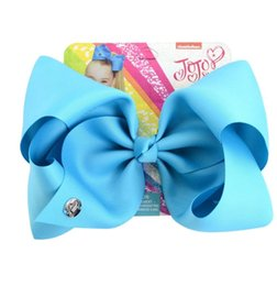 dancing hair Promo Codes - 8 Inch jojo siwa Bows Solid headband Hairclips For Girl Handmade Rainbow Dance Party Kids Boutique Hair Accessories 20 Colors Available