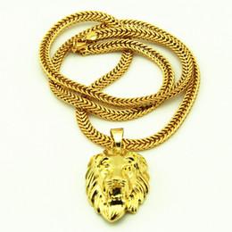 gran collar vintage de oro Rebajas Hip Hop Big Lion Head Collar Colgante Animal Rey Vintage 18 k Chapado En Oro Cadena Hiphop Para Hombres / Mujeres Cadena de Joyería Para Hombres / Mujeres KKA3507