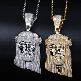 pendant pieces for men chains Promo Codes - Hip Hop CZ Zircon Stone Paved Bling Iced Out Big JESUS Piece Pendants Necklace for Men Rapper Jewelry Gold Silver Necklace