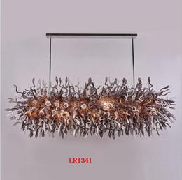 Lustre grande vintage on-line-New Modern Retângulo de Cristal Lustres de Iluminação de Vidro Murano Lustre Grande Luminárias para Cozinha Quarto Sala de Jantar Sala de estar