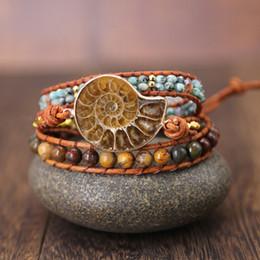 2019 petali di fiori marroni Ammonite Fossils Seashell Ciondolo lumaca Bracciale avvolgente fatto a mano Ocean Reliquiae Conch Animale boho braccialetto intrecciato per donne