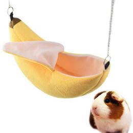 Oscillazioni verdi online-Criceto casa appesa criceto gabbia nido per dormire cuccia ratto criceto giocattoli gabbia altalena pet disegno banana piccoli animali