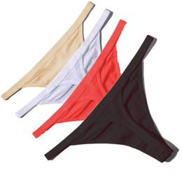 culotte blanche chaude Promotion Vente chaude Sexy Femmes Coton G String Strings Taille Basse Sexy Culotte Dames Sous-vêtements Sans Soudure Noir Rouge Peau Érotique Culotte T190629