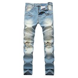 bolsos europeia jeans Desconto Europa e América MOTOCICLISTA JEANS High Street Mens Calças de Brim Da Motocicleta Plissado Bolso Com Zíper Buraco Jeans Calças Slim Nostálgico