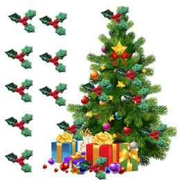 Suministros de decoración de frutas online-200pcs / lot Red Fruit With Christmas Tree Decoration Supplies DIY Art Fabric Accesorio