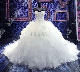 Descuento en stock envío rápido vestido de gala vestido de novia con encaje hecho a mano, vestidos de novia de cristal blanco vestidos de novia desde fabricantes