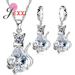 2020 joyería en forma de gato de plata GIEMI Fashion 925 Sterling Silver Sweet Cat Shape Pendientes de collar de mujer Conjunto de joyas con cristal Nice Party Gift de boda rebajas joyería en forma de gato de plata