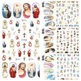Dipinti di arte del chiodo online-1 foglio 3D Jesus Godness The Virgin Mary Dipinti per bambini Adesivo per nail art Adesivi Decorazioni Consigli salone fai da te F19X #