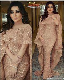vestidos médios Desconto 2019 Luxo Mermaid Longo Vestidos Jewel Neck Sequins o chão Middle East Prom vestidos formais partido