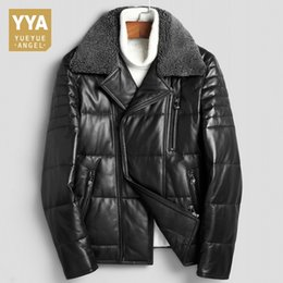 short fitted down jacket Coupons - Fashion Mens Slim Fit Genuine Leather Outerwear Male Pocket Zipper Short Motorcycle Jacket Luxury Winter Thick Warm Down Coat