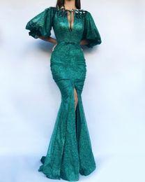 Glitter Verde De Lantejoulas Esmeralda Sereia Vestido de Noite com Puff Mangas Front Dividir Keyhole Longo Formal Vestidos de Baile 2019 Cristal de Fornecedores de vestido de baile de formatura verde