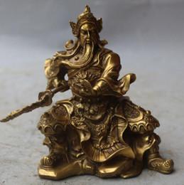 Статуи латунного бога онлайн-Новый + + + CChina древний герой латунь Дракон Гуань Гун Гуань Юй воин Бог меч статуя исцеление медицина украшения 100% латунь бронза