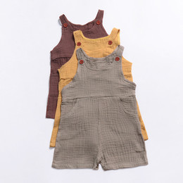Ropa occidental online-Everweekend Toddler Kids Western Pockets Button Sin mangas Romper Ropa Ins Venta caliente Color del caramelo Holiday Summer Newborn Romper