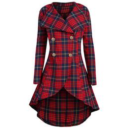 a cuadros rojos tallas grandes Rebajas Escudo Gamiss primavera vendimia de las mujeres más el tamaño 5XL tela escocesa del rojo de pecho doble capa fecha delgado largo botón casual abrigos de lana a cuadros