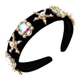 Handmade frisado coroas on-line-Baroque Beaded Thick Headband for Woman Handmade Luxury Full Colorful Crystal Wide Hair Hoop Bridal Wedding Tiaras Crowns