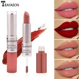 Batom duplo on-line-TEAYASON 12 cores Double-Chefe do batom de longa duração Labiales Nude and Natural Matte Lipstick Non-Stick Cup para Lábios Maquiagem