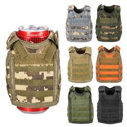 Molle Mini Miniature Beverage Tattico Militare Copertura Beer Can Cooler Holder Sleeve Bottle Drink Vest C19041501 da