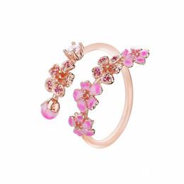 Fidanzamento di anelli di fiori rosa online-100% 925 Sterling Silver Rose Peach Blossom Flower Branch Anello Fit gioielli Pandora Fidanzamento Wedding Lovers Anello di moda