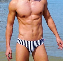 723839ab92 2019 Sexy Striped Swimsuit Gay Mens Bikini Swimwear Men Swim Briefs  Swimming Suit Sunga For Beach Surf Sport Bathing Wear Short