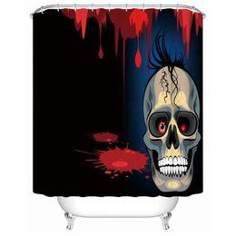 Cráneo pelo negro online-DIY único moderno diseño de dibujos animados cráneo cortina de ducha para la decoración de Halloween con pelo negro y una sonrisa misteriosa es tan aterrador