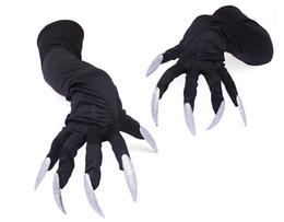 рукавицы с длинным рукавом Скидка Длинные ногти перчатки хэллоуин hollowen косплей реквизит костюмы рукава рука производительность лапы манжеты женщины мужчины