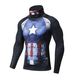 3f644a0347ce9 Marvel calças justas capitão americano collants esportes de fitness  basquete executando camiseta formação t-shirt ginásio camisa aptidão esportiva  americana ...