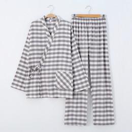 Kimono di cotone uomo online-Indumenti da notte per uomo Kimono Griglia tinta in filo con pigiama di flanella di puro cotone Set di pigiami di stoffa di peluche per uomo