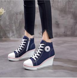 Zapatillas de deporte de mujer online-2019 Moda Mujer Zapatos Zapatos de Cuña Zapatillas de deporte de Plataforma Alta Mujer Mujer Casual Ascensor Tacones Altos Zapatos de Lona Más Tamaño