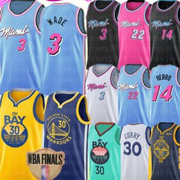 Новый баскетбол джерси онлайн-2020 новый Стивен Карри 30 Джерси НКАА 3 Дуэйн Уэйд 22 Джимми Батлер Тайлер 14 Herro Джерси, вышивка логотипов баскетбол