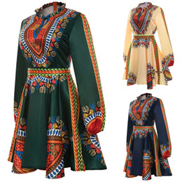 hippie clothes Coupons - Fashion-Plus Size African Clothes Dashiki Dress for Women Casual Summer Hippie Print Dashiki Fabric Femme Boho Robe Femme