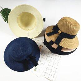 Romacci Girls Straw Hat Spring Summer Striped Bowknot Flower Foldable Sweet Outdoor Sun Hat//Beach Hat Beige