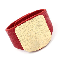 2019 pulseiras de cobre de couro 2019 Novo Estilo Bohemian Largo Marrom e Preto De Couro De Cobre Botões Pulseira Pulseira Para Mulheres Dos Homens desconto pulseiras de cobre de couro