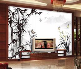 Pintura moderna de bambú online-Modern Custom 3D Wallpaper Ink bamboo landscape painting Wallpaper Mural Painting For Living Room TV background wall