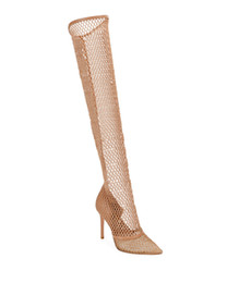 Frete grátis 2019 Senhoras de pele de carneiro picar apontou dedos sapatos de casamento super alto calcanhar escavar sandálias Sobre o joelho botas Net Nude 35-42 de