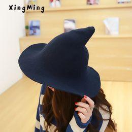 2019 tejidos modernos Mujeres modernas brujas hombres sombrero A lo largo  de la gorra de lana b39b6e8eb67
